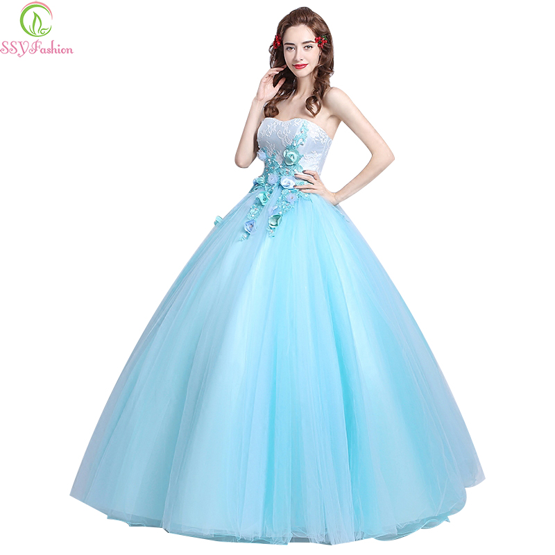 Popular Strapless Light Blue Dress-Buy Cheap Strapless ...