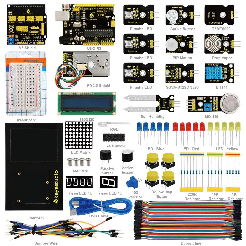 2018 NOVO! keyestudio Monitoramento do Ambiente PM2.5 Educação Starter Kit para Arduino Com o Uno board + V5