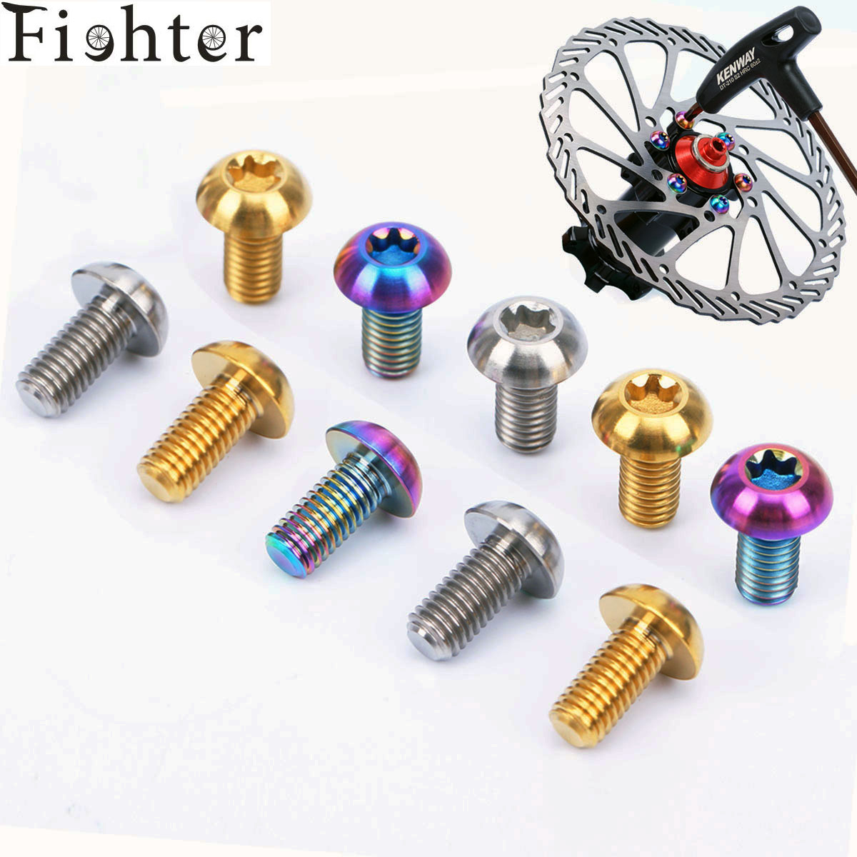 12pcs M5*10mm T25 Ti Disc Brake Rotor Bolts for MTB Bicycle Road bike Titanium Torx Rotor Screw for Avid Sram ultralight