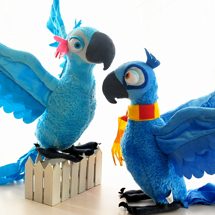Free Shipping Rio 2 pcs Plush Toy Blu and Jewel Parrot Bird Canary Plush Toys For Kids Gift Toys Standing High 28 cm T001