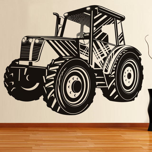 Driving tractor wall stickers farming transport car decal vinyl nursery home interior decor children vehicle murals