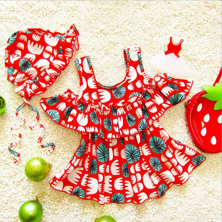 Bohemian art pattern baby girls swimwear children shoulder leak ruffles swimsuit new fashion 2018 beach dress