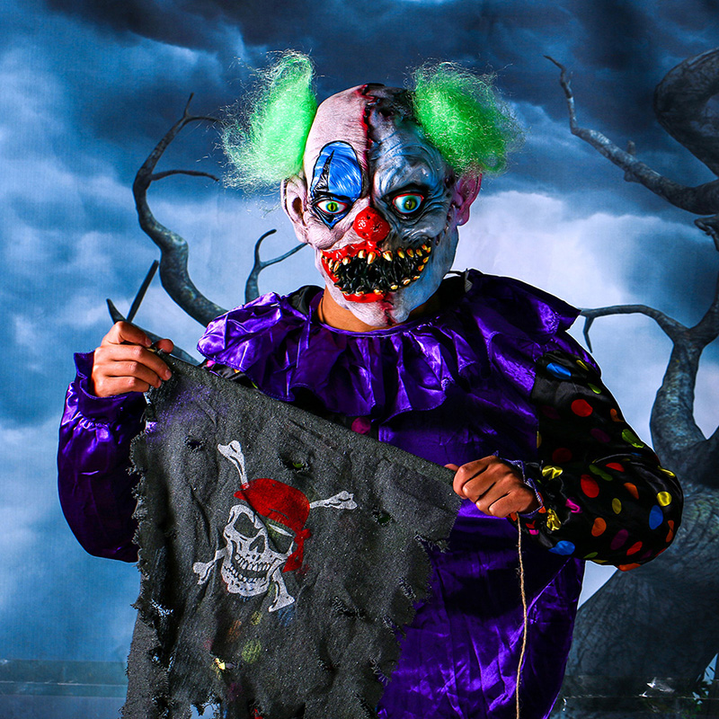 Scary Clown Latex Mask Green Hair Buck teeth Full Face Horror Masquerade Adult Ghost Party Mask Halloween Props Fancy Costumes