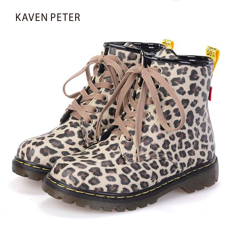 Children Shoes autumn 2017 ankle Martin boots kids PU Leather heart print girls boots fashion baby boy boots leopard printed
