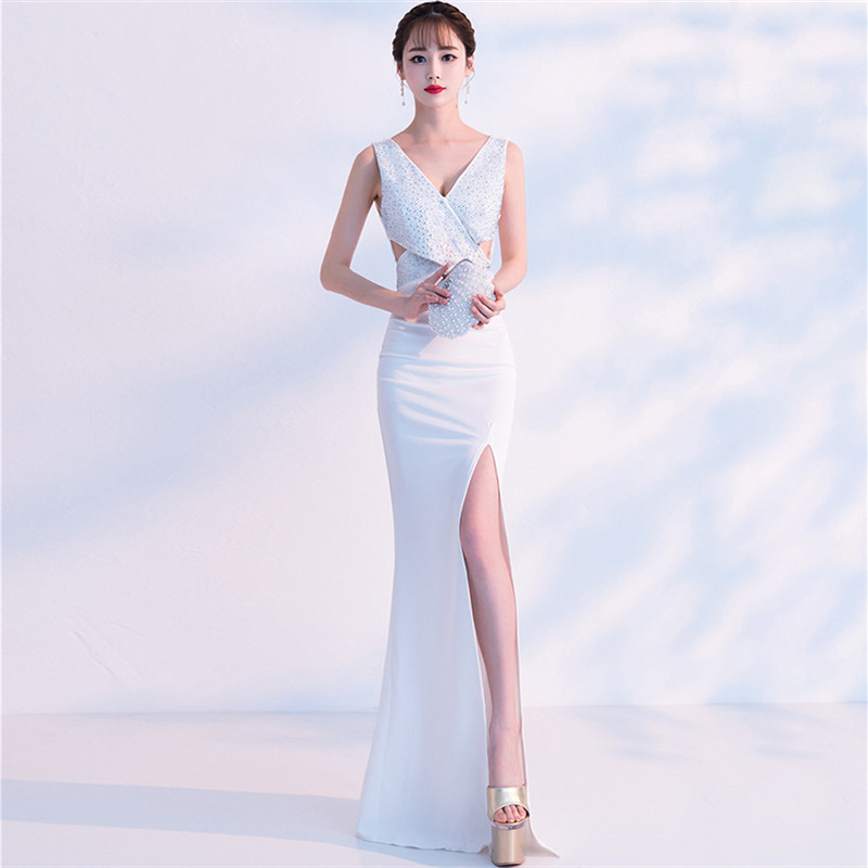 It's Yiiya eveing gown Sleeveless V-neck Crystal Trumpet Prom dress Criss-cross Zipper back Floor-length Party dresses C132