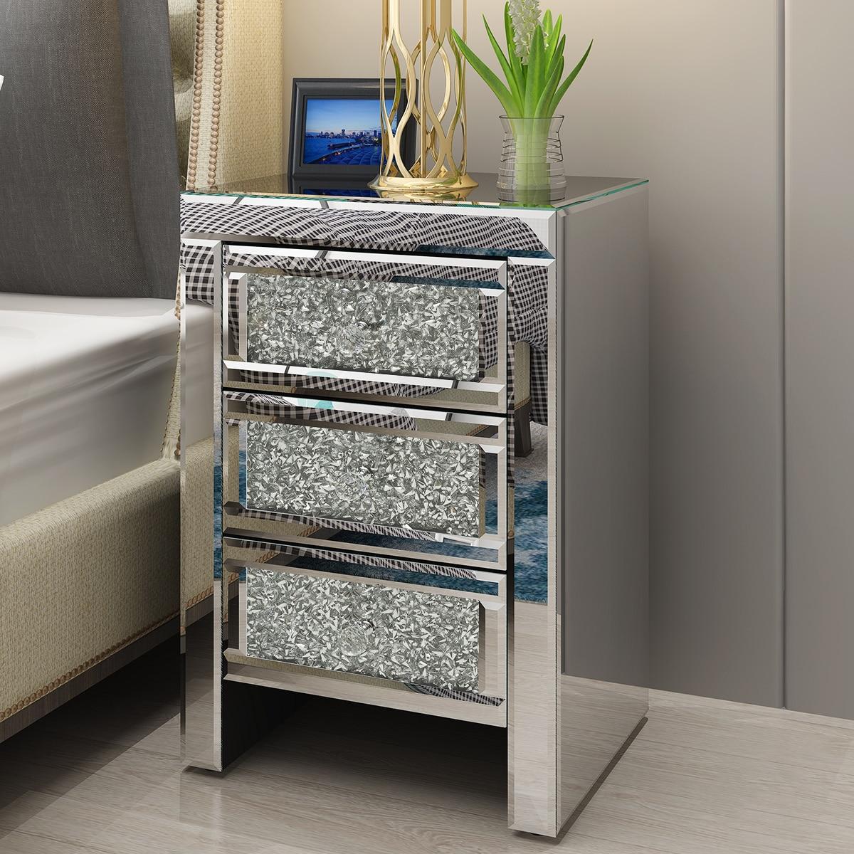 Panana espelhada mesa de cabeceira vidro cristal 3 gaveta quarto armário mesa cabeceira entrega rápida
