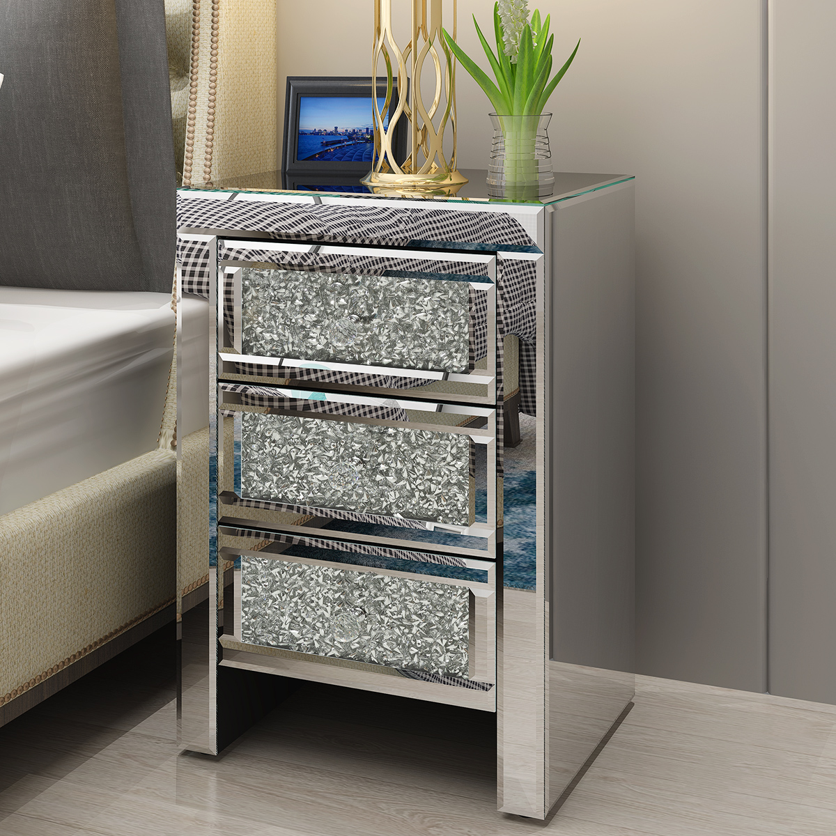 Preselling Panana Mirrored Crystal Glass Bedside Table 3 Drawer Bedroom Cabinet Nightstand Fast Delivery