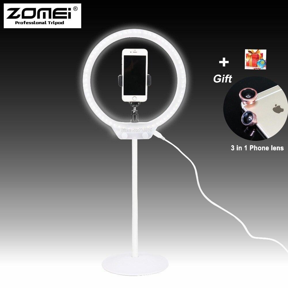 ZOMEI кольцо света комплект мини затемнения гибкие фотографическое освещение Таблица светодиодное кольцо видео светлое с подставкой для мак...