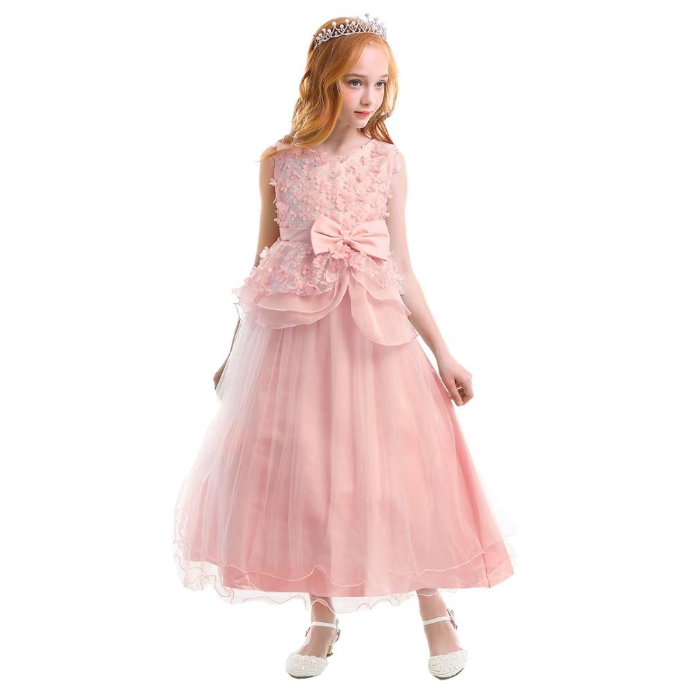 Elegant Girls Dress Baby Kid Children Sleeveless Ball Gown Long Dress Birthday Wedding Party Princess Dress Fashion Kids Dresses