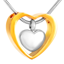 Double Heart Stainless Steel Cremation Souvenir Jewelry Necklace for Ashes Urn Keepsake Memorial IJD8078