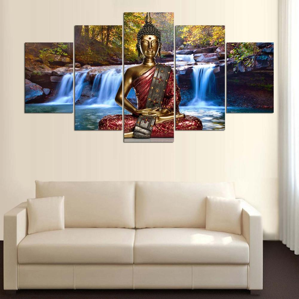 Abstract Painting Wall Pictures 5 Panel Buddha Landscape Framework ...