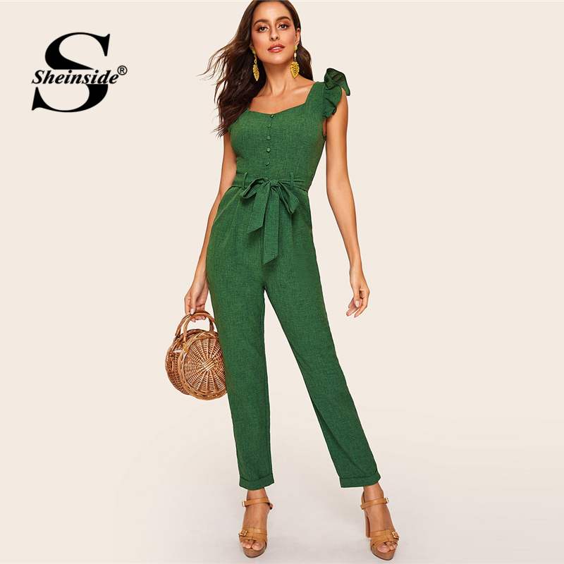 Sheinside Vintage Mid Waist Belted   Jumpsuit   Women 2019 Spring Ruffle Trim Sleeveless   Jumpsuits   Ladies Button Detail   Jumpsuit