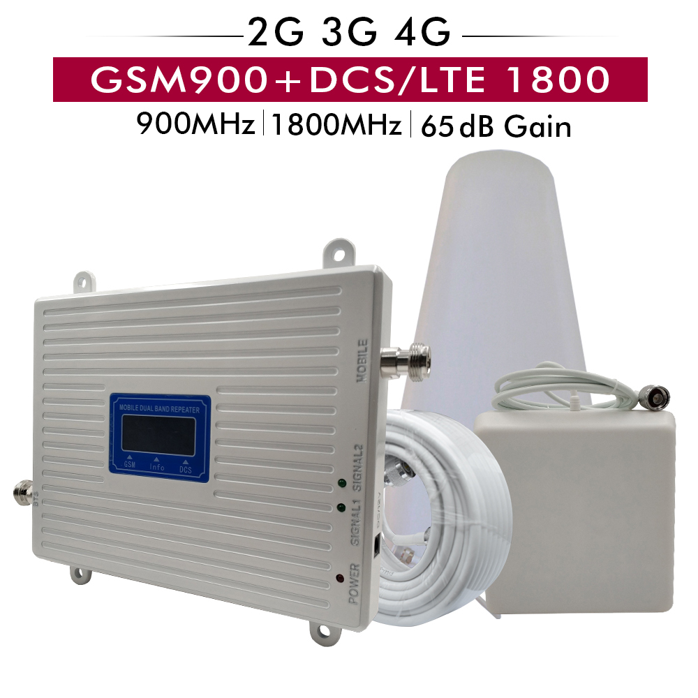 65dB Gain 20dBm 2G 4G Dual Band Booster Kit GSM 900mhz DCS 1800mhz 4G LTE Cellular
