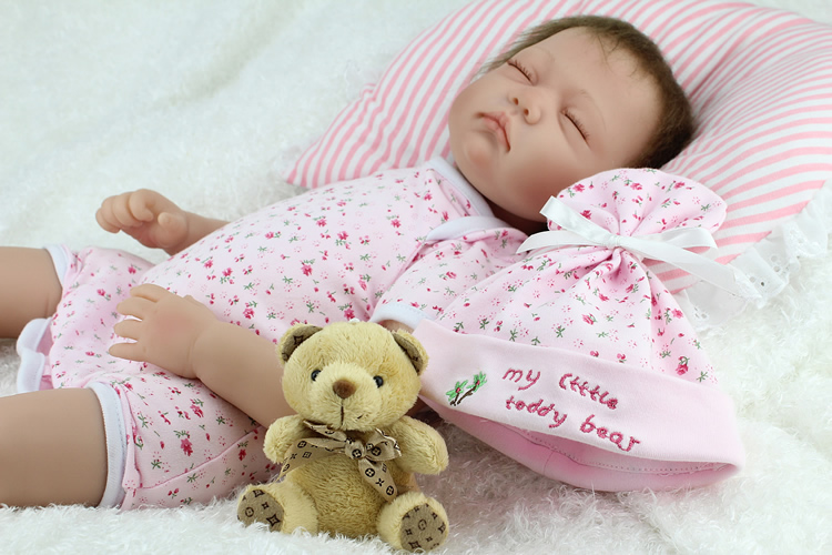 22inch About 55cm New NPK Real Silicone Baby Dolls With Hat Rooted Hair Sleeping soft vinyl