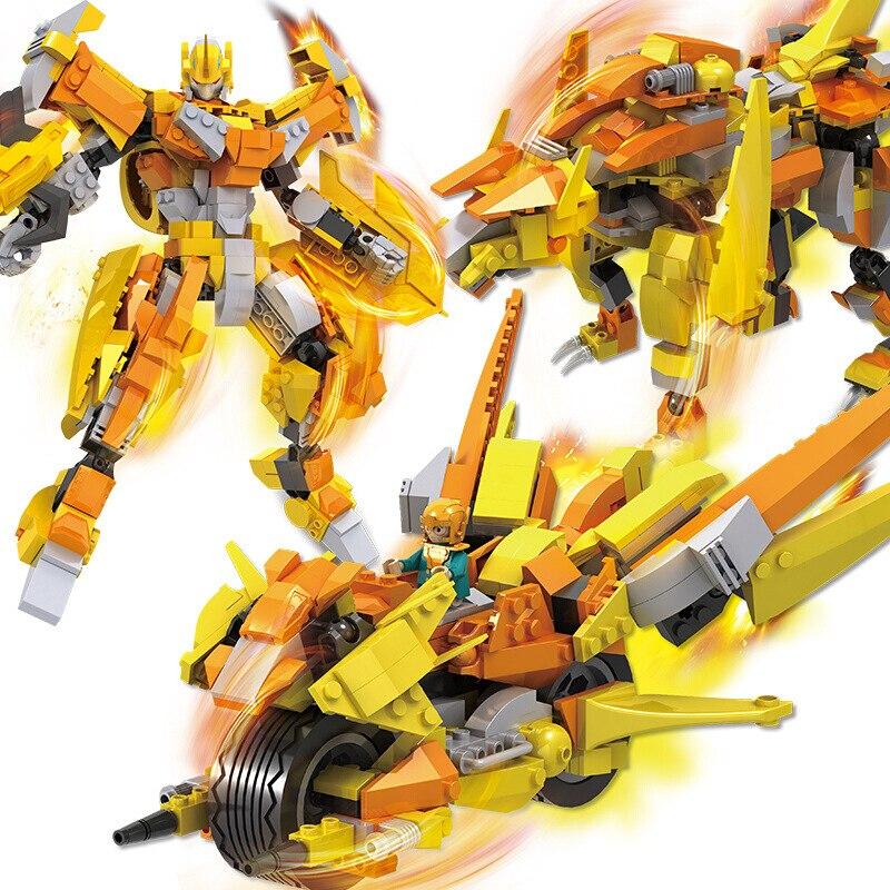 Deformed Motorcycle Warrior Building Kits Robot Animal Model Building Blocks Toys For Children Educational Toy