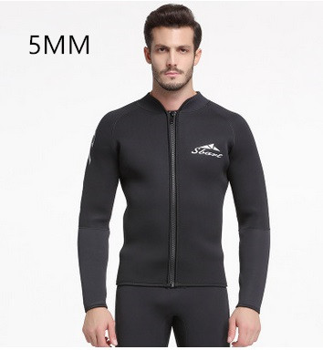 5MM Neoprene Long Sleeved Jumpsuit For Men Wetsuit Scuba Jacket Wet Suit Top Winter Swim Warm Surf Beach Diving Shirts Rashguard neoprene 2mm men black long sleeve wetsuit jacket tops surf diving swim suit full zipper scuba snokling men bathing beach shirts
