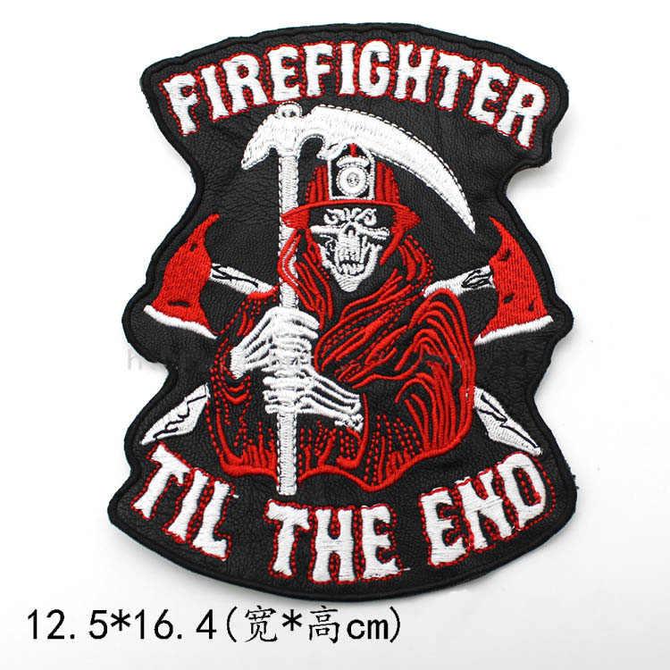 刺繍消防士tilをエンドパッチmc bikerパッチベスト鉄-背面上puレザーオートバイ用ベストジャケット
