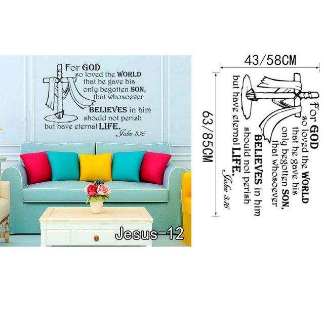 Us 4 24 22 Off Christan Gott Kreuz Bibel Zitate Wand Kunst Aufkleber Vinyl Aufkleber Jesus Christus Psalm Beten Bibel Schlafzimmer Wandbild Poster