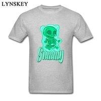 Gummy Bear Skull Skeleton Men T Shirt Funny Cartoon Design Summer Unique Tops Tees Cotton Clothing