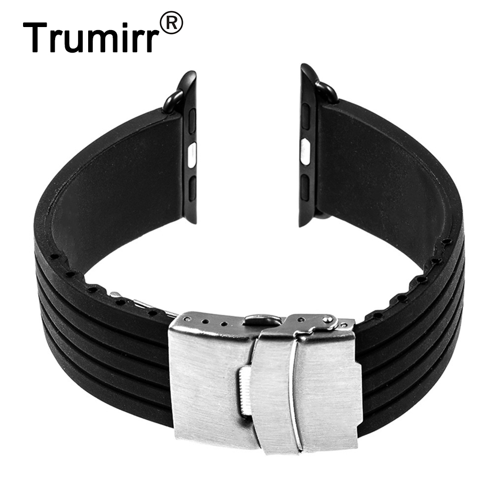 Silicone Rubber Band with Stainless Steel Buckle for 38mm 42mm iWatch Apple Watch Resin Strap Bracelet with Connector Adapter stylish survival glowing in the dark paracord bracelet with stainless steel buckle white