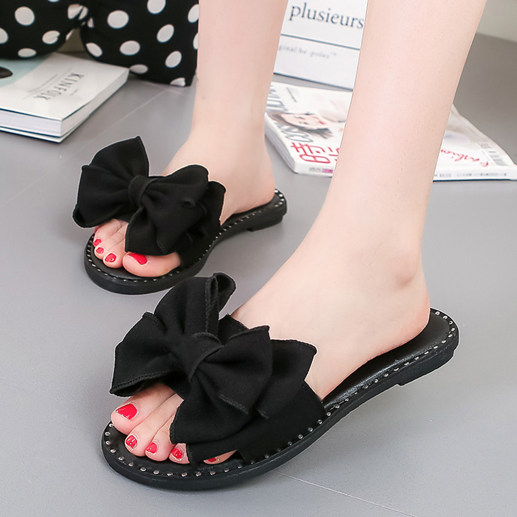2018 Summer Slippers Women Shoes Flat Slippers Butterfly Knot Slip On Slides Beach Flat Casual Comfortable Slippers Shoes