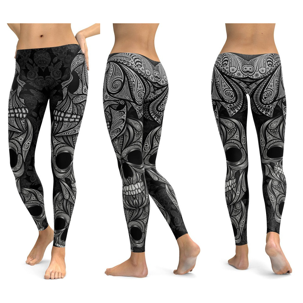 Skull Leggings Yoga Pants Women Sports Pants Fitness Running Sexy Push Up Gym Wear Elastic Slim Workout Leggings 26