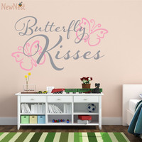 Butterfly Kisses Baby Girl Nursery Wall Decal Butterfly Wall Sticker Kid S Wall Sticker Room Wall
