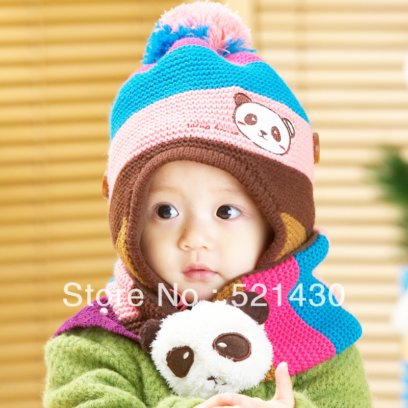 Baby Kids Bernat Warm Toddler Woolen Kintted Scarves Cap Set