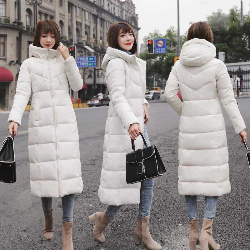 9e3d44854db Hooded Winter Down Coat Jacket Long Warm Slim Women Cotton-padded Casaco  Feminino Abrigos Mujer