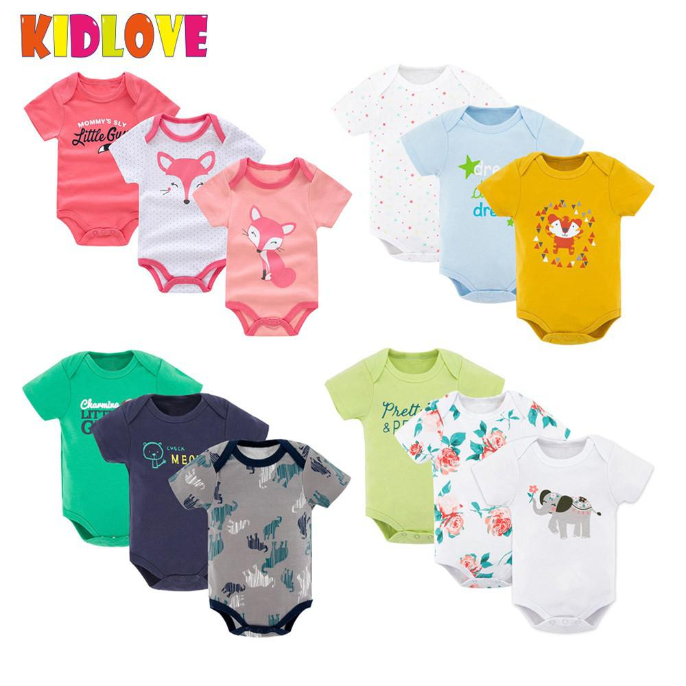 KIDLOVE 3pcs/set Baby Boy Girl Rompers Newborn Unisex Cute Romper Short Sleeve Cotton Vest Jumpsuit Summer Clothes