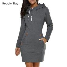 67e402d53 BeautyStay otoño manga larga bolsillos mujeres vestir Slim damas de punto  jersey Sudadera con capucha vestidos ropa de mujer