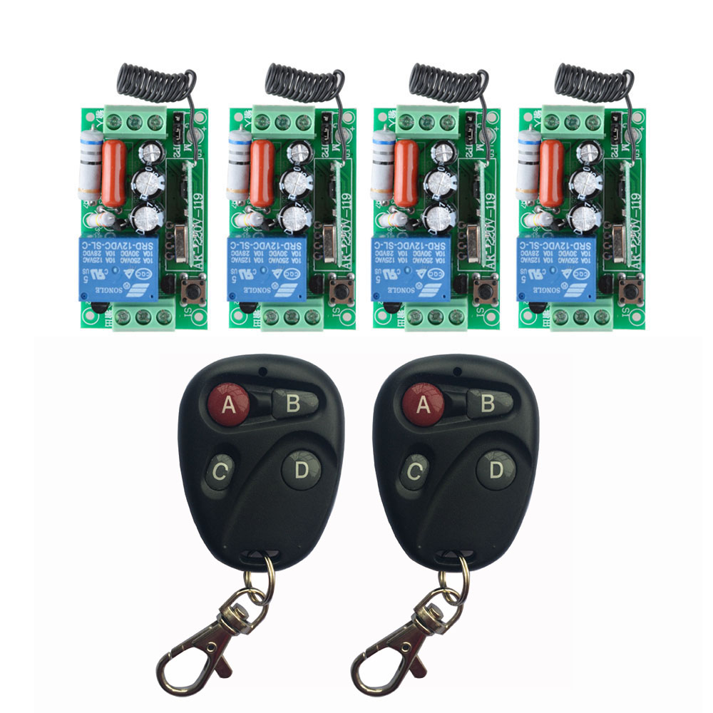 ac 220 v 1ch 10a relay rf wireless remote control switch wireless light switch 4pcs receiver. Black Bedroom Furniture Sets. Home Design Ideas