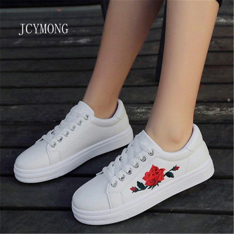 JCYMONG Women Lace-up Shoes Fashion Womens Straps Sneakers Embroidery Flower Shoes Womens Vulcanize Shoe Female Girls Footwear