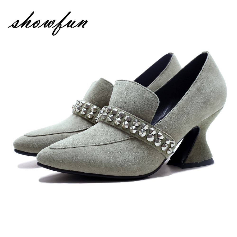 Women's Genuine Suede Leather Rivet Slip-on Pumps Brand Designer Pointed Toe OL Style Spring Autumn High Heeled Shoes for Women women s genuine suede leather hemp wedge platform slip on autumn ankle boots brand designer leisure high heeled shoes for women