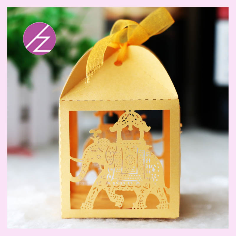 50pcslot Free shipping Candy box for wedding party indian wedding cake boxes cute elephant shape candy box TH-56 and TH-67