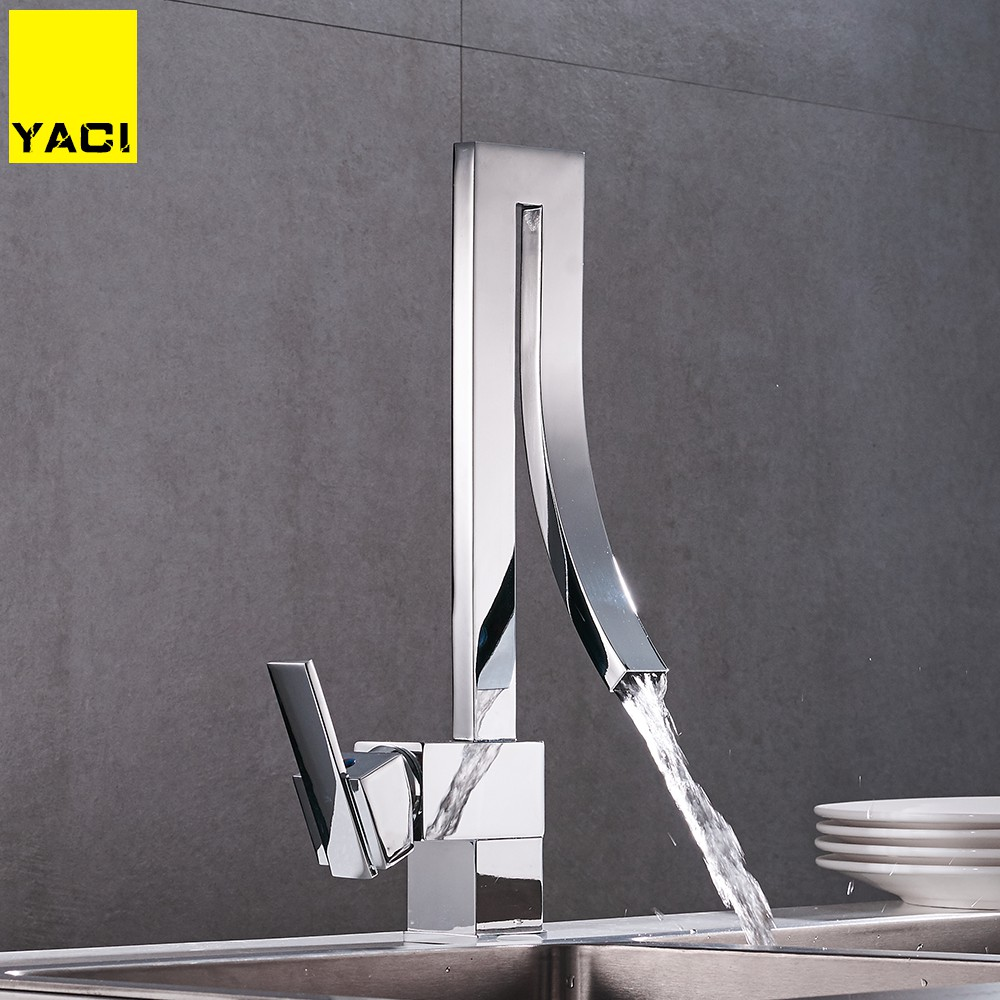 YACI Modern Style Tall Basin Faucet High Sink Mixer Tap Brass Made Cold And Hot Water Bathroom Faucet Waterfall Tap MW-YC6019 bathroom brass water automatically sense faucet basin mixer hot and cold tap modern design high quality