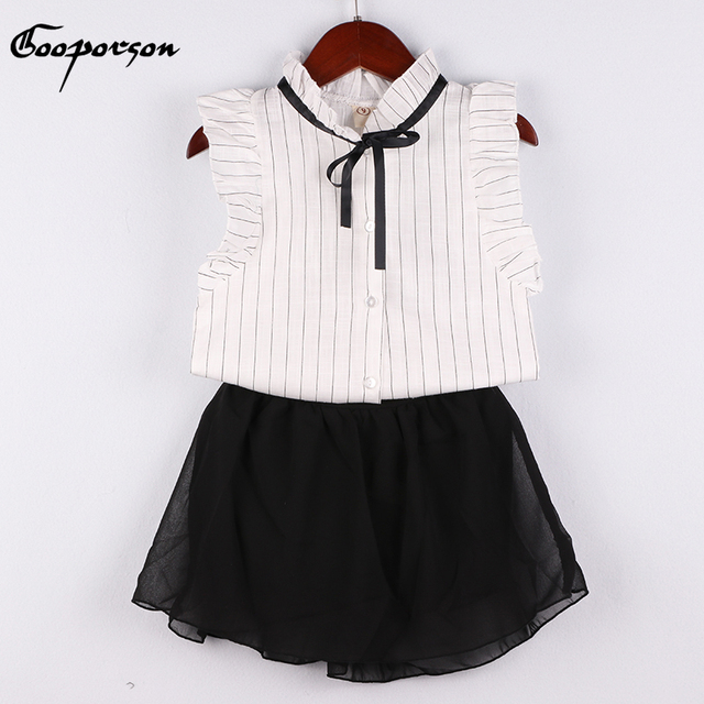 90b893e098aa Fashion Girls Clothes Wet White Striped Blouse Shirt And Black Skirt For  Kids Girl Summer Clothing Suit Casual Set