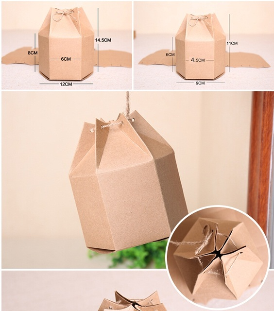 Gift Packaging Paper Box Kraft Cardboard Decorated Boxes Natural Decorative