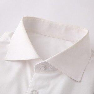 Image 2 - Odporne na zmarszczki białe męskie ubranie koszule Custom Made Slim Fit z długim rękawem mężczyźni sukienka koszula Blanche koszulka Homme Manche Longue