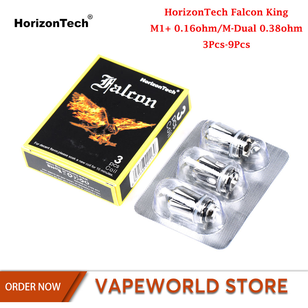 3Pcs-9Pcs Original HorizonTech Falcon King Coil M1+0.16ohm/M-Dual 0.38ohm Core Head E Cigarette Accessories For Falcon King Tank(China)