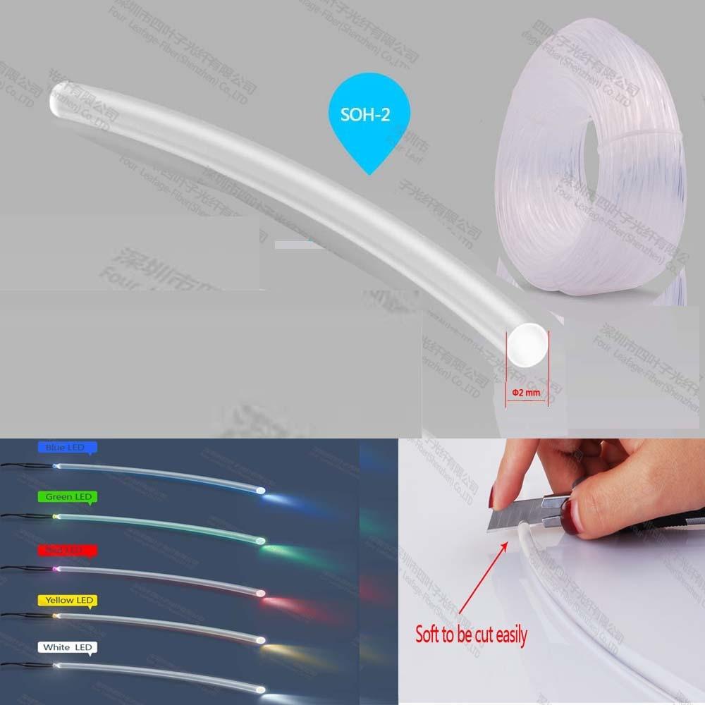 Soft 2mm Pmma End Glow Studio Lighting Plastic Optical Fiber For Computer Keyboard Mouse Lighting