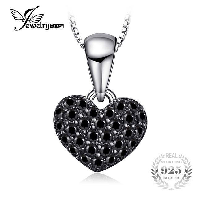 JewelryPalace Fashion 0.28ct Natural Black Spinel Love Heart Necklaces Pendant S