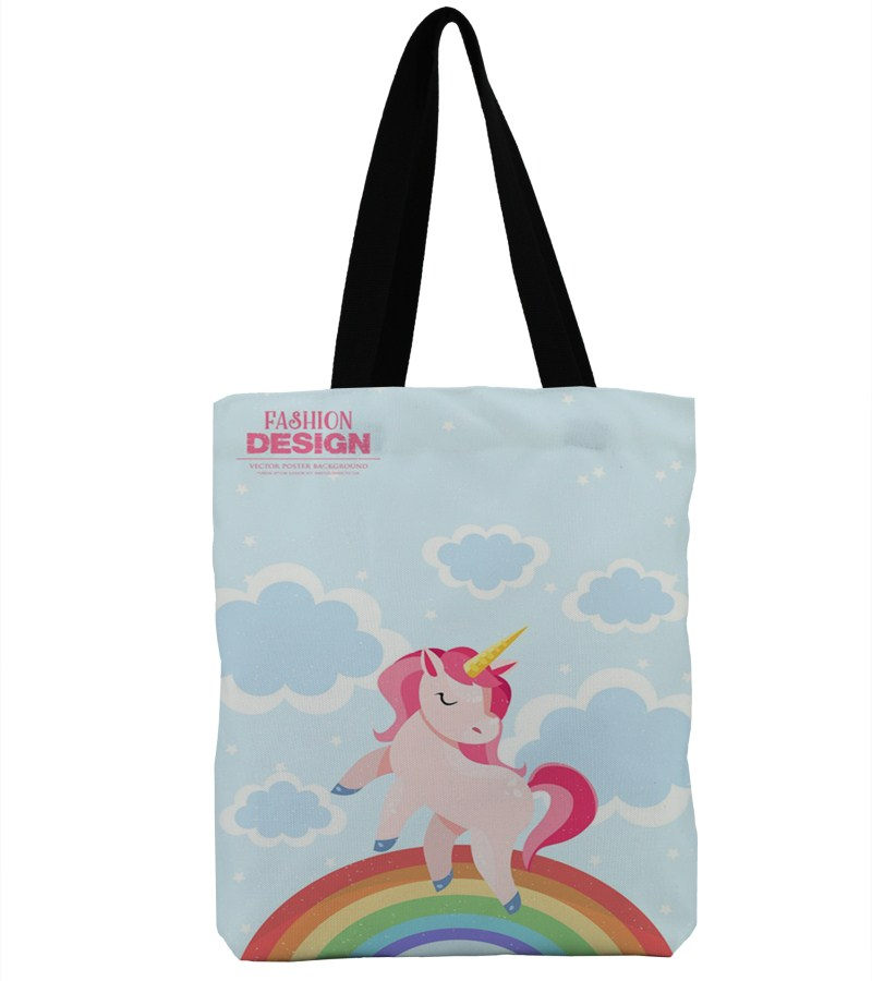 3D Printing 6Color Happy Birthday Unicorn Design Beach Bags Single Shopping Bag Canvas Tote Handbag Big