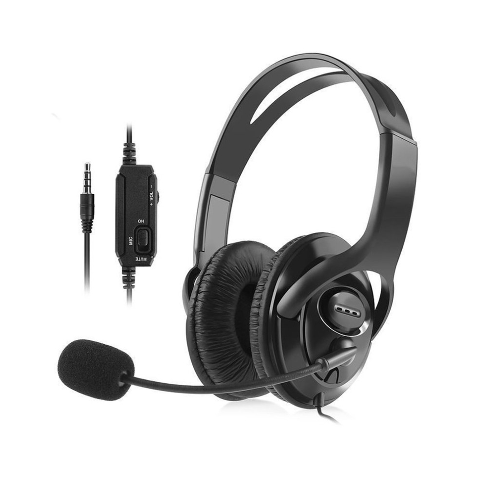 Portable Wired Gaming Headset with Microphone Volume Control Headphone 3.5mm Audio Jack For PS4 Online Game Playing Use