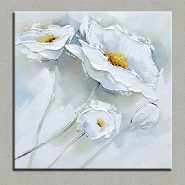 Main Acrylique Floral Peintures Moderne Mur Art Grand Couteau Fleurs