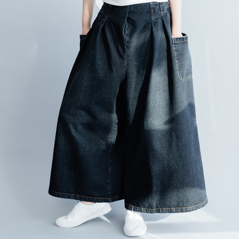2019 female new spring and summer two sides pockets elastic waist loose casual black denim wide