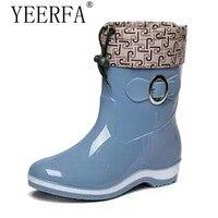 Rain Boots Rubber Women Ankle Boots Casual Platform Shoes Woman Warm Flats Women Shoes Size 36