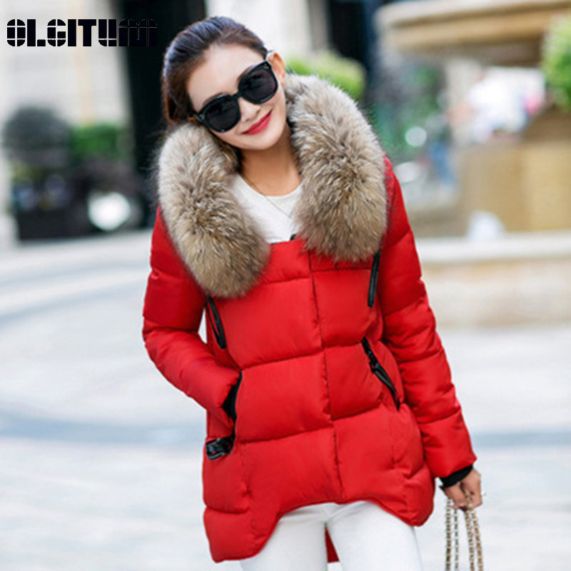 New Fashion Winter Jacket Women 2018 Large Fur Collar Women Cotton Coat Loose Long Sleeve Cotton   Parka   Coat Female Outwear