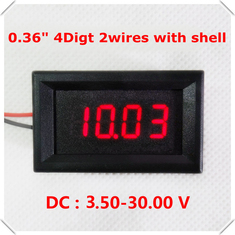 0.36Digital Voltmeter DC 3.5-30V 4 digit 2 wires with shell Voltage Panel Meter LED display Color 5pieces/lot
