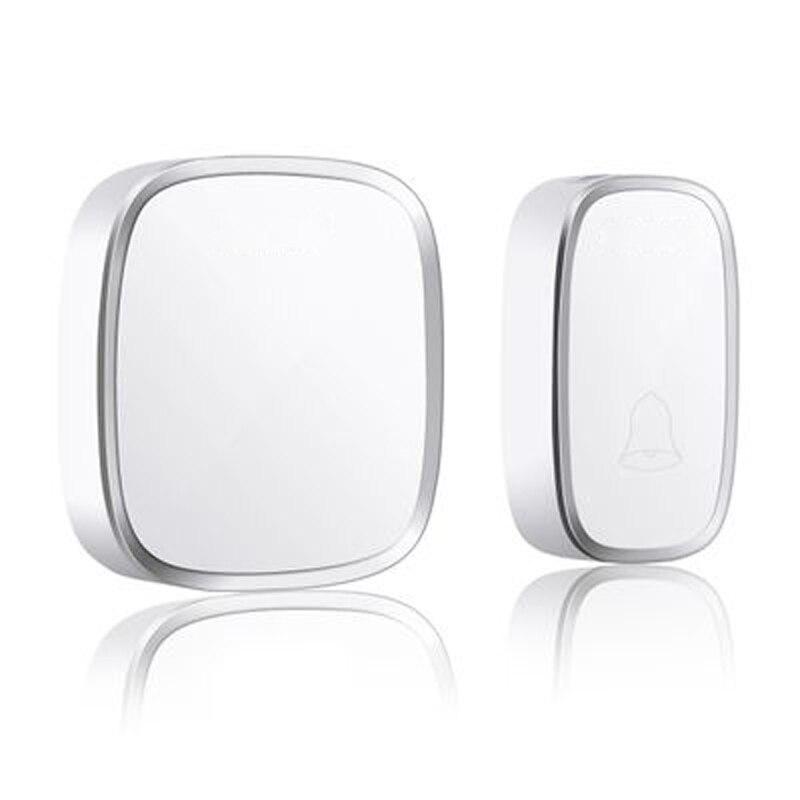 New White EU Plug Wireless Doorbell Waterproof Smart 36 Melody Led Ring Door Bell AC220V 1 Push Doorbells Button +1 Receiver